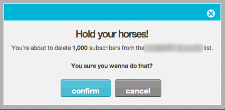 screenshot from mailchimp warning about deleting subscribers