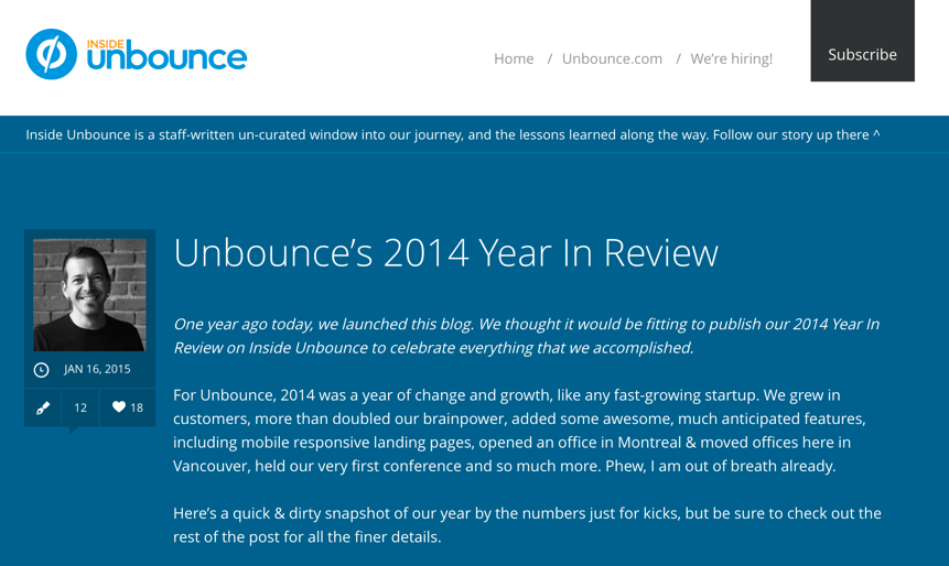 Screenshot of Inside Unbounce blog