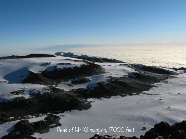 photo from the top of Mt Kilimanjaro, Tanzania, 2007