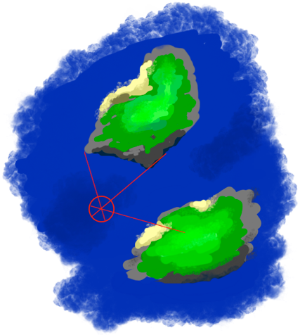 illustration of a position fix between to islands