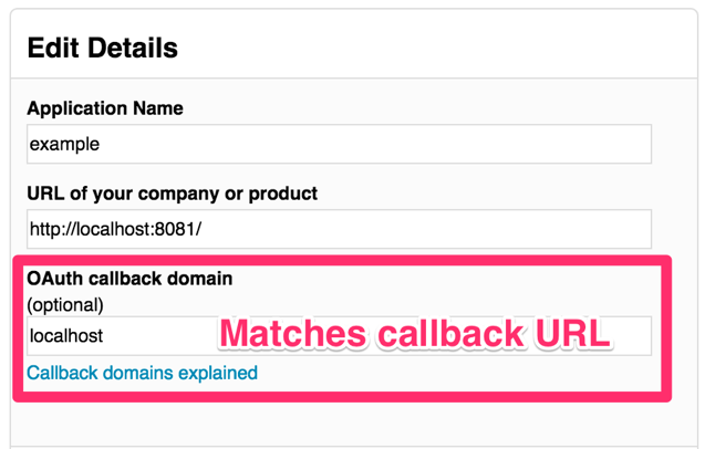 The callback domain is important
